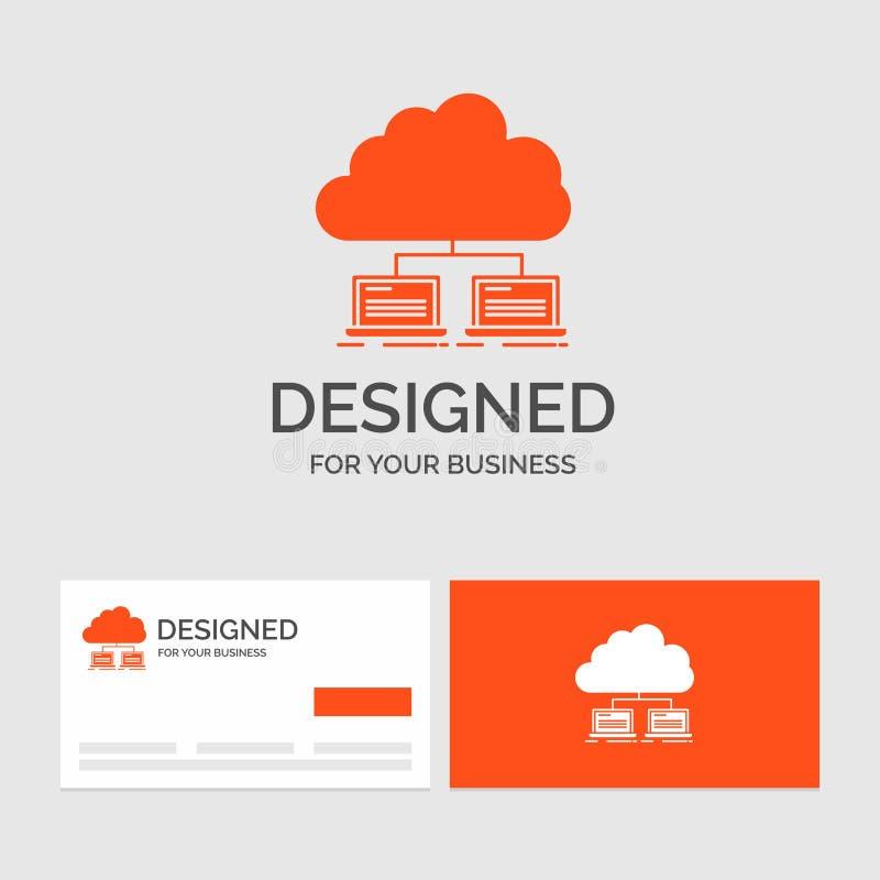 Biznesowy logo szablon dla chmury, sieć, serwer, internet, dane Pomara?cze Odwiedza karty z gatunku logo szablonem ilustracja wektor
