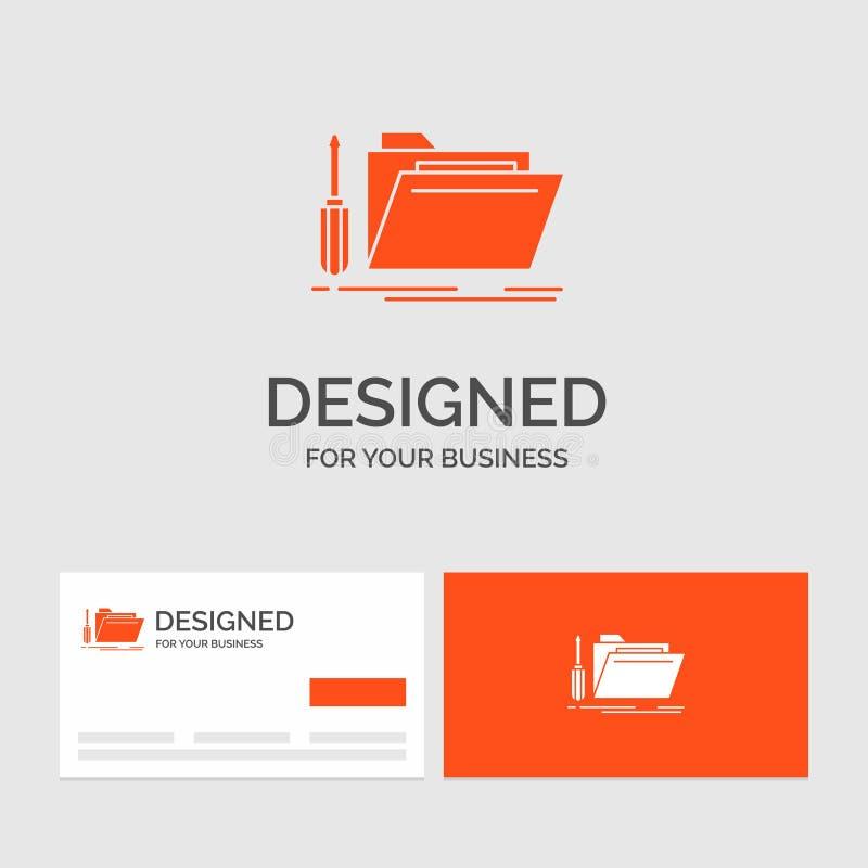 Biznesowy logo szablon dla falcówki, narzędzie, naprawa, zasoby, usługa Pomara?cze Odwiedza karty z gatunku logo szablonem royalty ilustracja