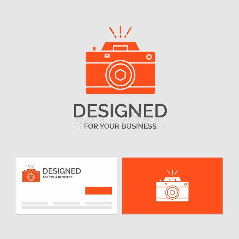 Biznesowy logo szablon dla kamery, fotografia, zdobycz, fotografia, apertura Pomara?cze Odwiedza karty z gatunku logo szablonem royalty ilustracja
