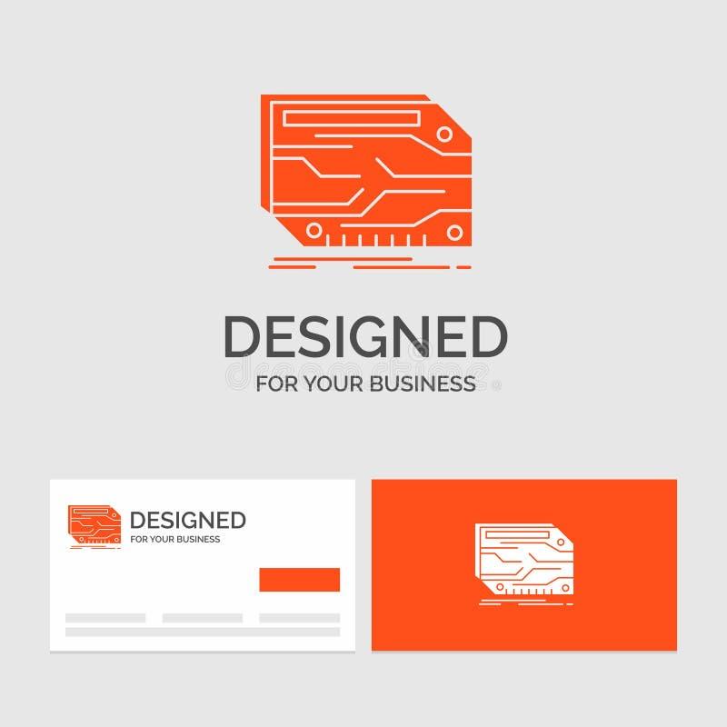 Biznesowy logo szablon dla karty, sk?adnik, zwyczaj, elektroniczny, pami?? Pomara?cze Odwiedza karty z gatunku logo szablonem ilustracji