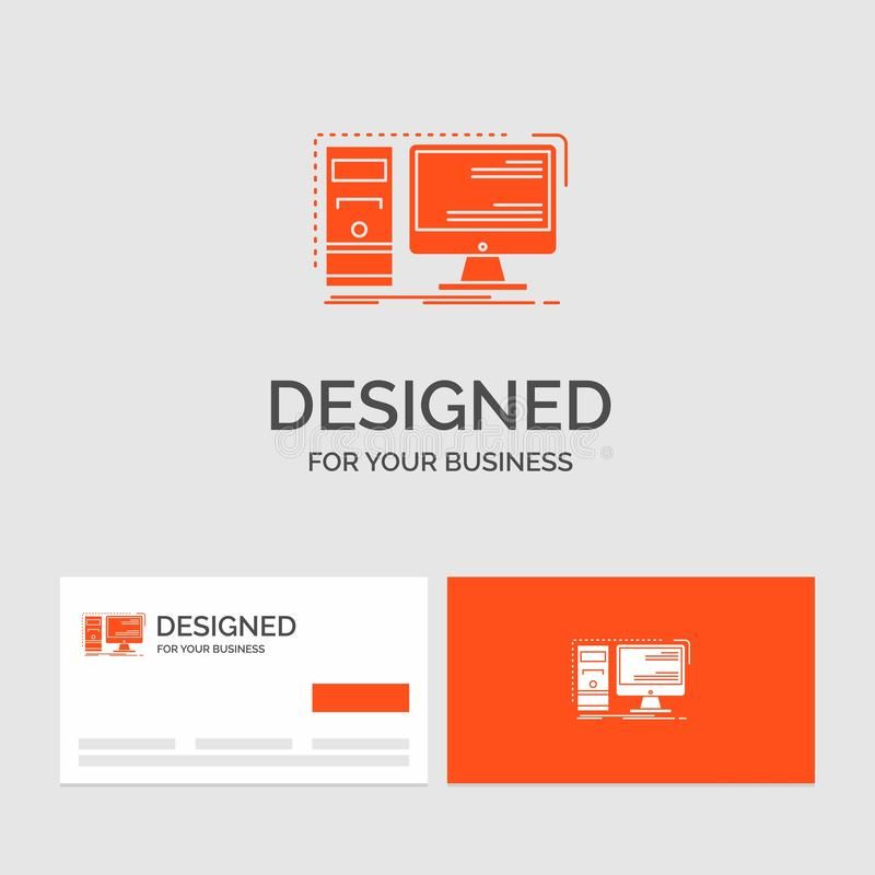 Biznesowy logo szablon dla komputeru, desktop, narz?dzia, stacja robocza, system Pomara?cze Odwiedza karty z gatunku logo szablon ilustracji