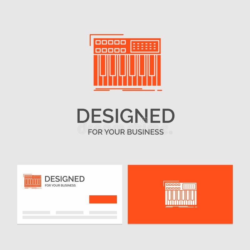 Biznesowy logo szablon dla synth, klawiatura, Midi, synthesiser, syntetyk Pomara?cze Odwiedza karty z gatunku logo szablonem ilustracja wektor