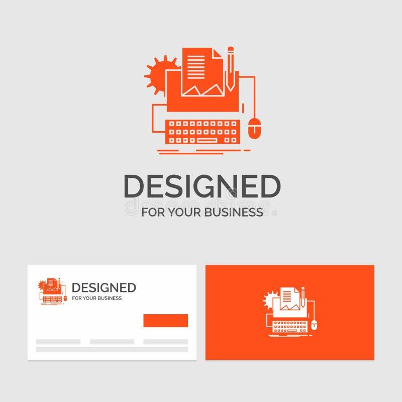 Biznesowy logo szablon dla typu pisarz, papier, komputer, papier, klawiatura Pomara?cze Odwiedza karty z gatunku logo szablonem ilustracji