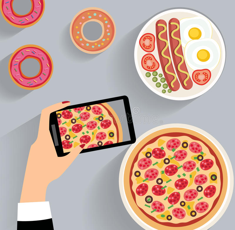 Biznesowy lunch, obiadowy blata widok ilustracja wektor