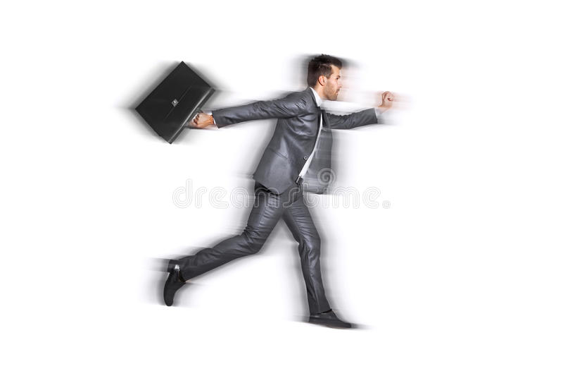 Biznesowy mężczyzna biega bardzo pości dla pracy zdjęcie royalty free