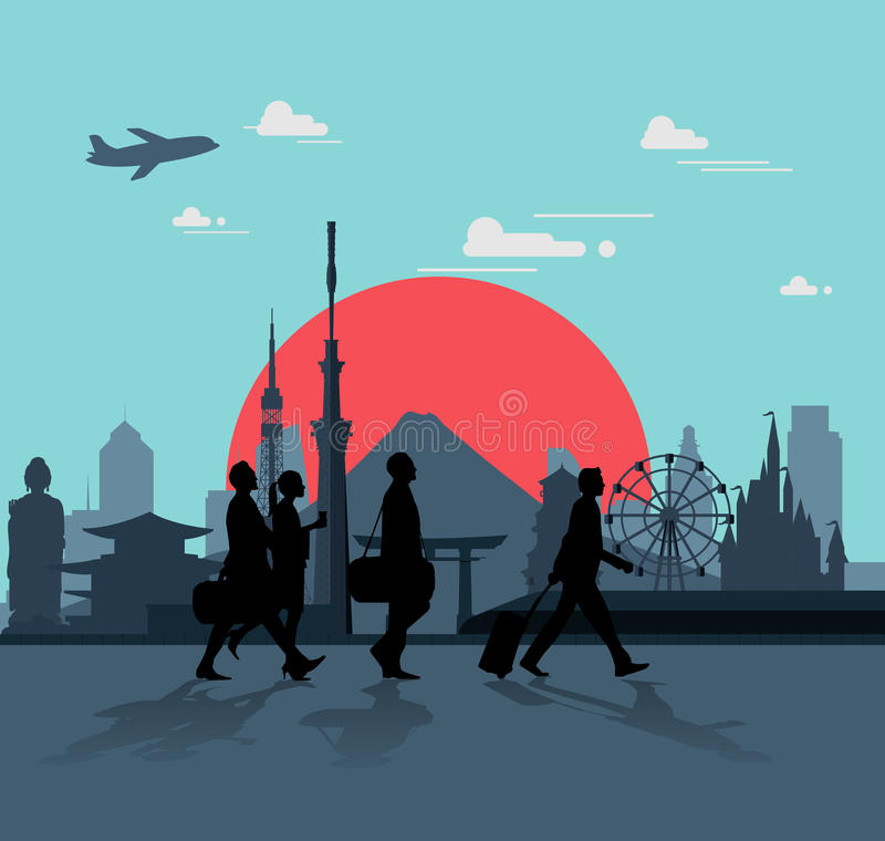 Biznesowy mężczyzna chodzi dla podróżować w Japonia royalty ilustracja