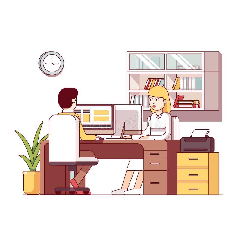 Biznesowy mężczyzna i kobieta księgowy pracuje wpólnie ilustracja wektor