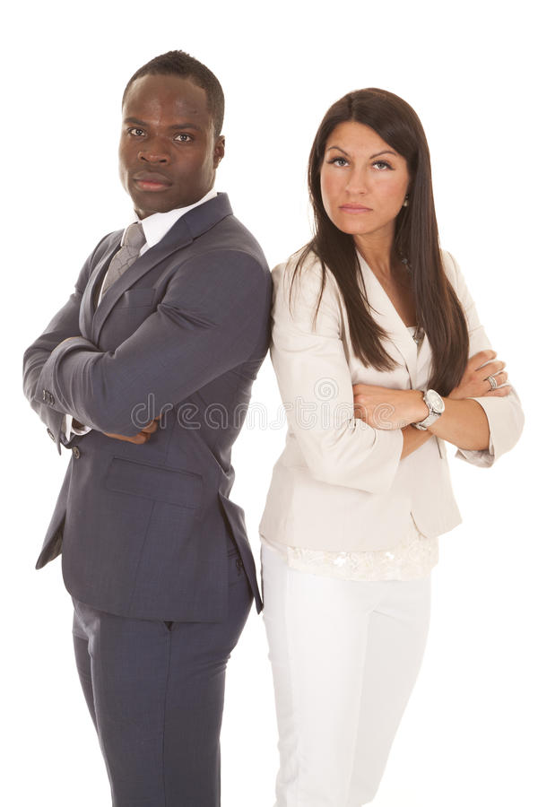 Biznesowy mężczyzna i kobieta stoimy z powrotem popierać poważnego obraz royalty free