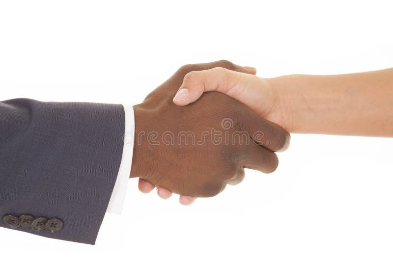 Biznesowy mężczyzna i kobieta trząść właśnie ręki zdjęcia stock