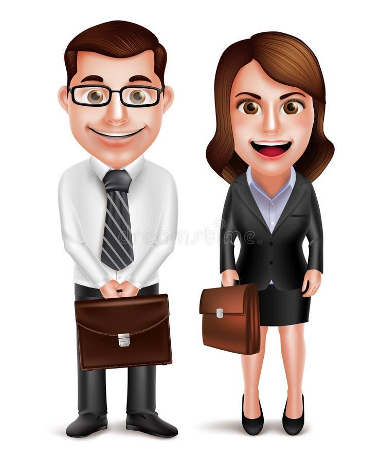 Biznesowy mężczyzna i kobieta wektorowi charaktery trzyma teczkę ilustracji