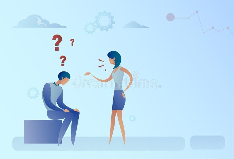 Biznesowy mężczyzna I kobieta Z znakiem zapytania Rozpamiętywa Problemowego pojęcie royalty ilustracja