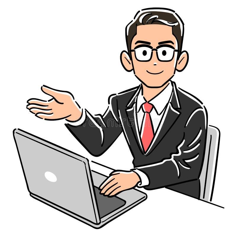Biznesowy mężczyzna jest ubranym szkła działać pecetów przewdoników ilustracja wektor
