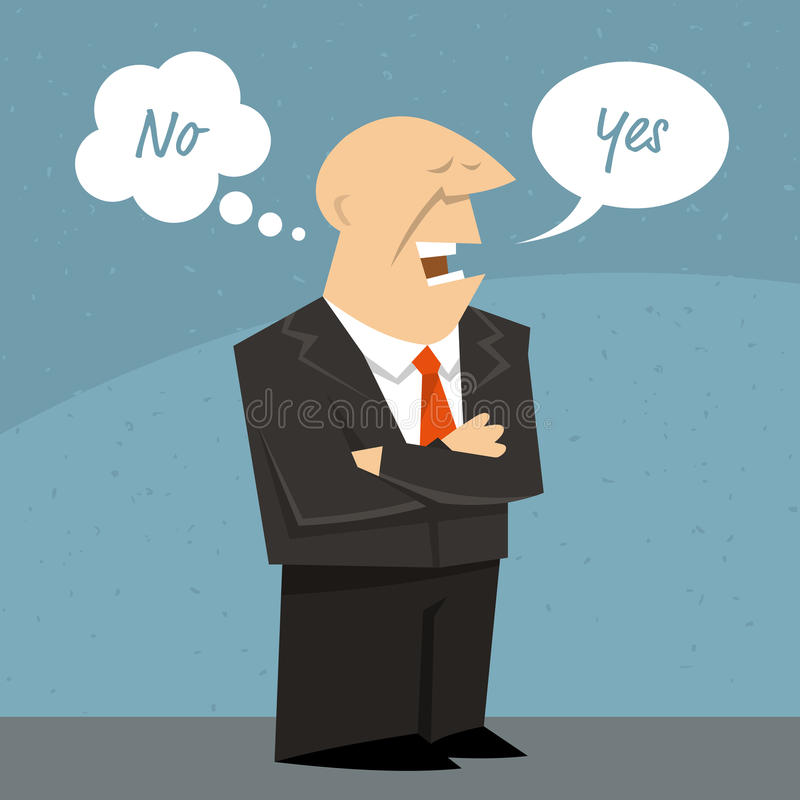 Biznesowy mężczyzna lub polityk mówi kłamstwo ilustracji