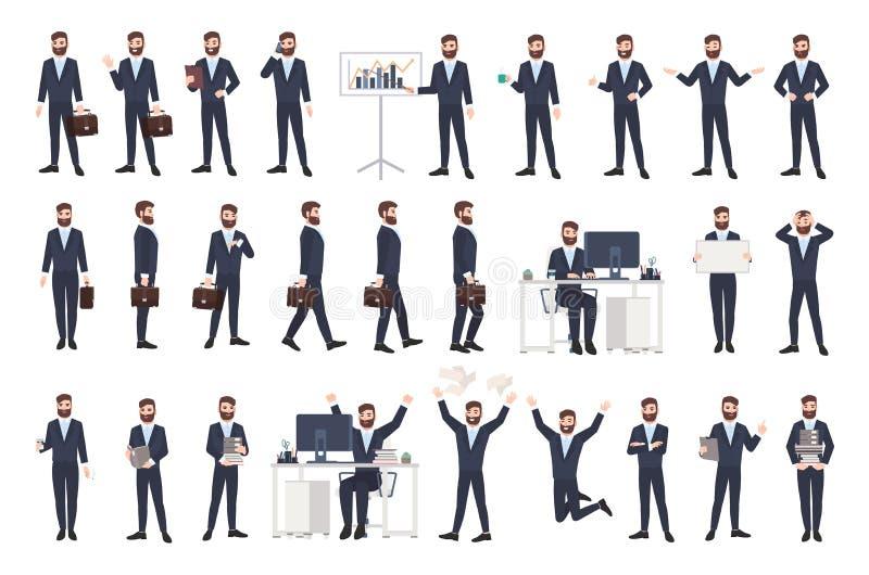 Biznesowy mężczyzna, męski urzędnik lub urzędnik z brodą, ubieraliśmy w mądrze kostiumu w różnych posturach, nastroje, sytuacje ilustracji