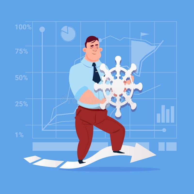 Biznesowy mężczyzna Mienie Kierownica Lider Firma ilustracja wektor