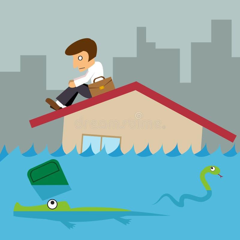 Biznesowy mężczyzna na dachu domu, powodzi miasto ilustracja wektor