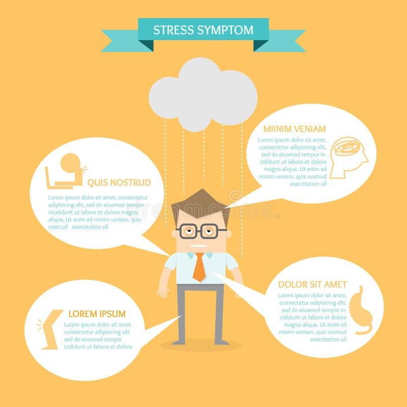 Biznesowy mężczyzna na zdrowie stresu objawie ilustracji