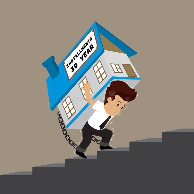Biznesowy mężczyzna niesie dom w górę schodków, wytrwały installm ilustracji