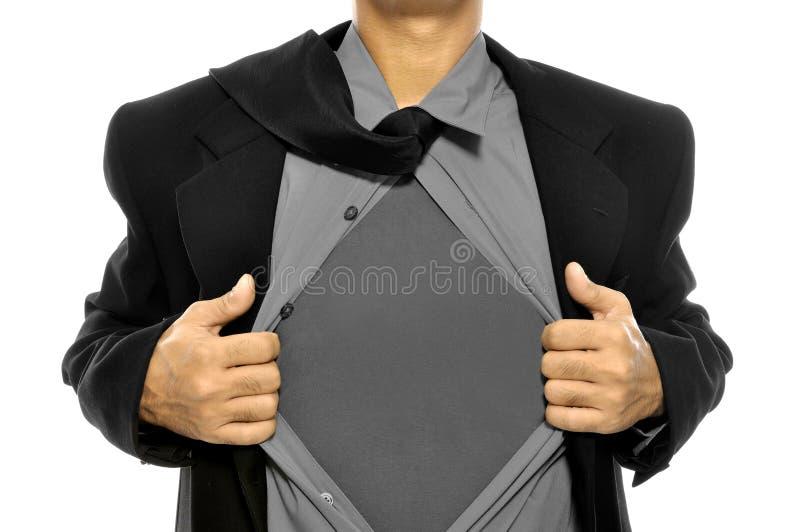 Biznesowy Mężczyzna Otwiera Jego Koszula obraz stock