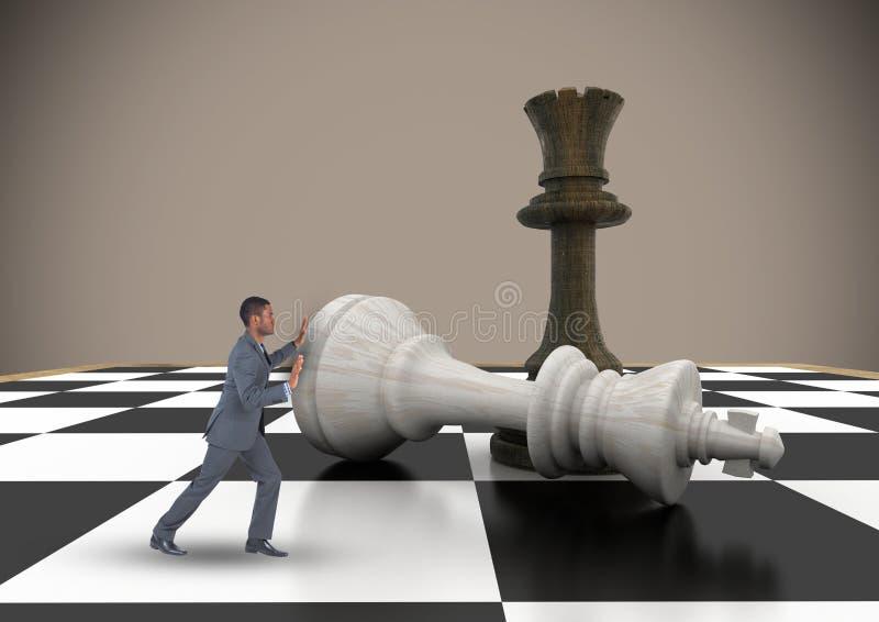 Biznesowy mężczyzna pcha szachowego kawałek przeciw brown tłu ilustracji