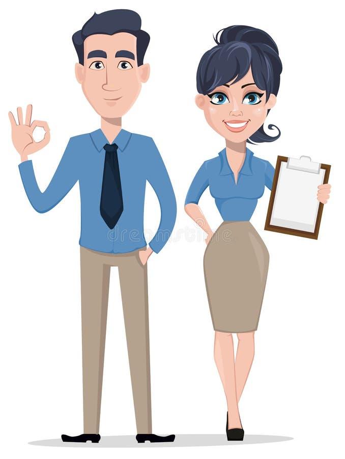 Biznesowy mężczyzna pokazuje ok szyldowa i biznesowa kobieta trzyma listę kontrolną, postać z kreskówki ilustracji