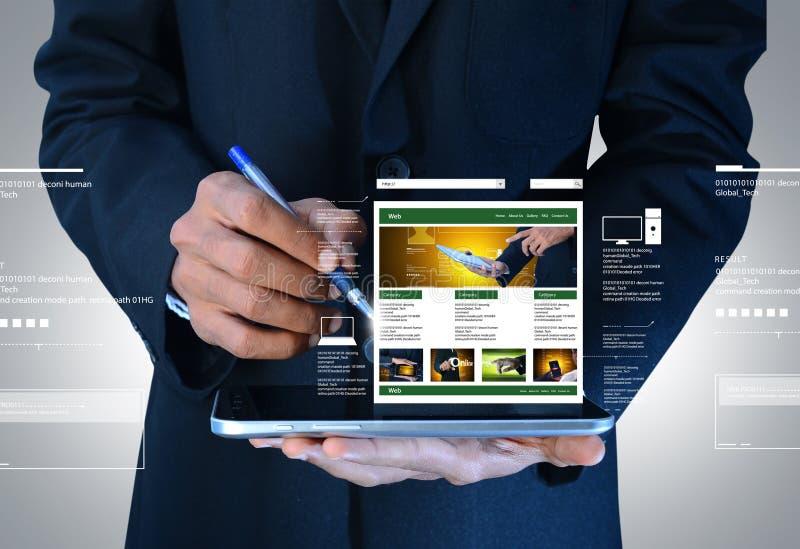 Biznesowy mężczyzna pokazuje stronę internetową na pastylce obrazy stock