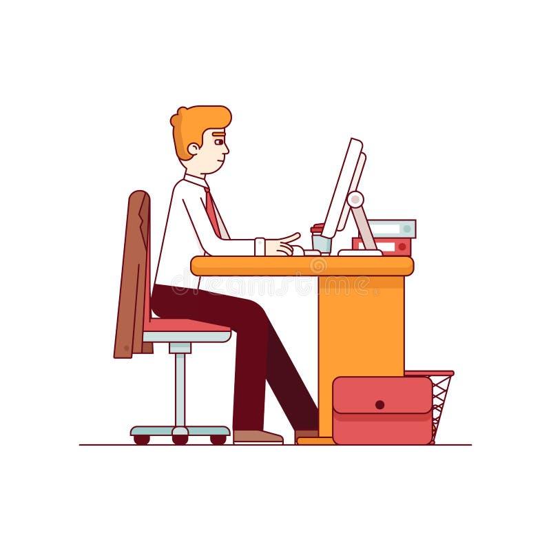 Biznesowy mężczyzna pracuje na komputerze stacjonarnym royalty ilustracja