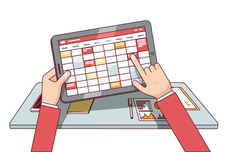 Biznesowy mężczyzna pracuje na pastylka komputerze royalty ilustracja