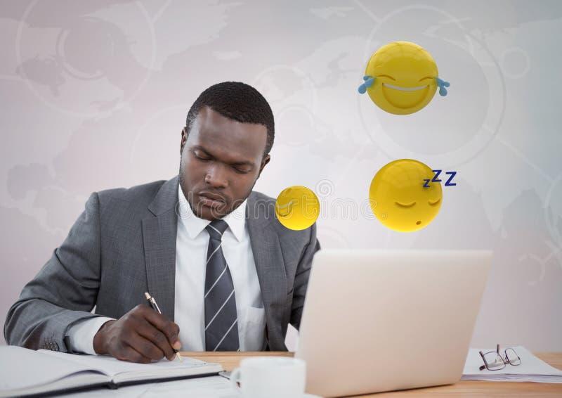 Biznesowy mężczyzna pracuje przy biurkiem z emojis i racą przeciw białemu interfejsowi ilustracji