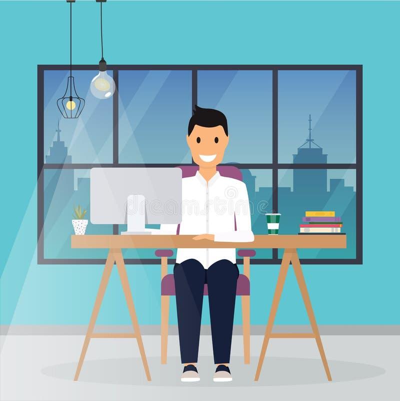 Biznesowy mężczyzna pracuje przy jego biurowym biurkiem Płaskiego projekta nowożytny vect ilustracji