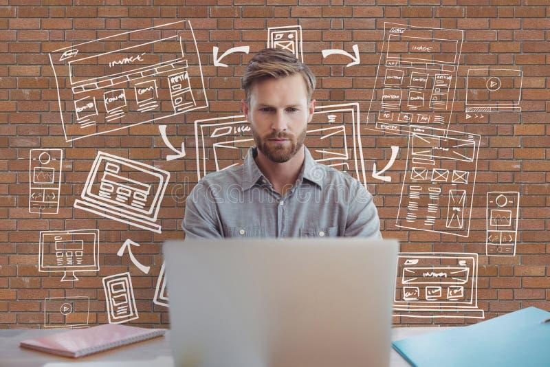 Biznesowy mężczyzna przy biurkiem używać komputer przeciw ściana z cegieł z grafika royalty ilustracja