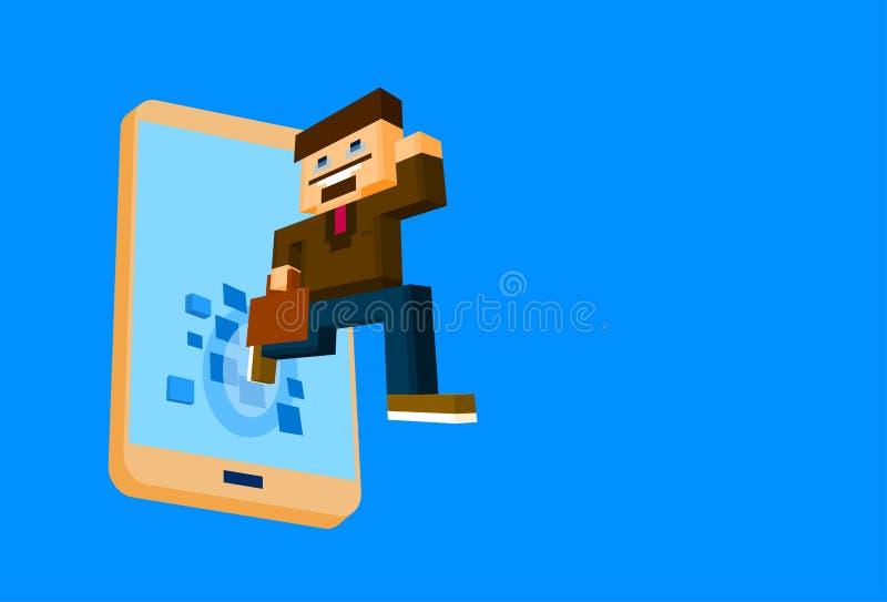 Biznesowy mężczyzna Przychodzi Out Z komórka telefonu Mądrze Ogólnospołecznej sieci Komunikacyjnego pojęcia 3d Isometric royalty ilustracja