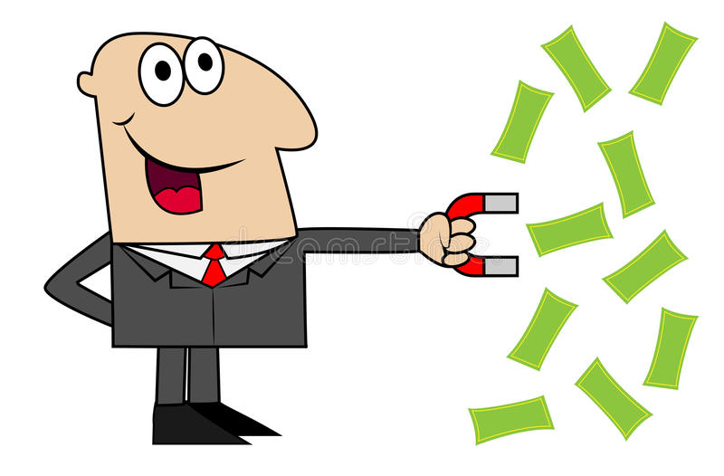 Biznesowy mężczyzna przyciąga ja magnesu pieniądze ilustracji