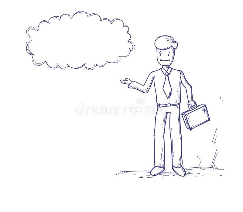 Biznesowy mężczyzna Rozpamiętywa główkowanie gadki Obłocznego bąbel ilustracji