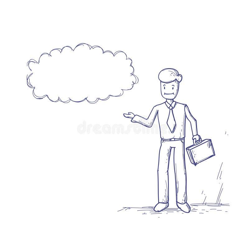 Biznesowy mężczyzna Rozpamiętywa główkowanie gadki Obłocznego bąbel royalty ilustracja