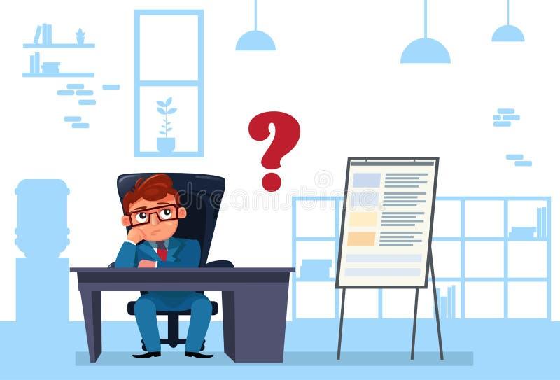 Biznesowy mężczyzna Rozpamiętywa I Myśleć Siedzi Przy Biurowym biurkiem royalty ilustracja