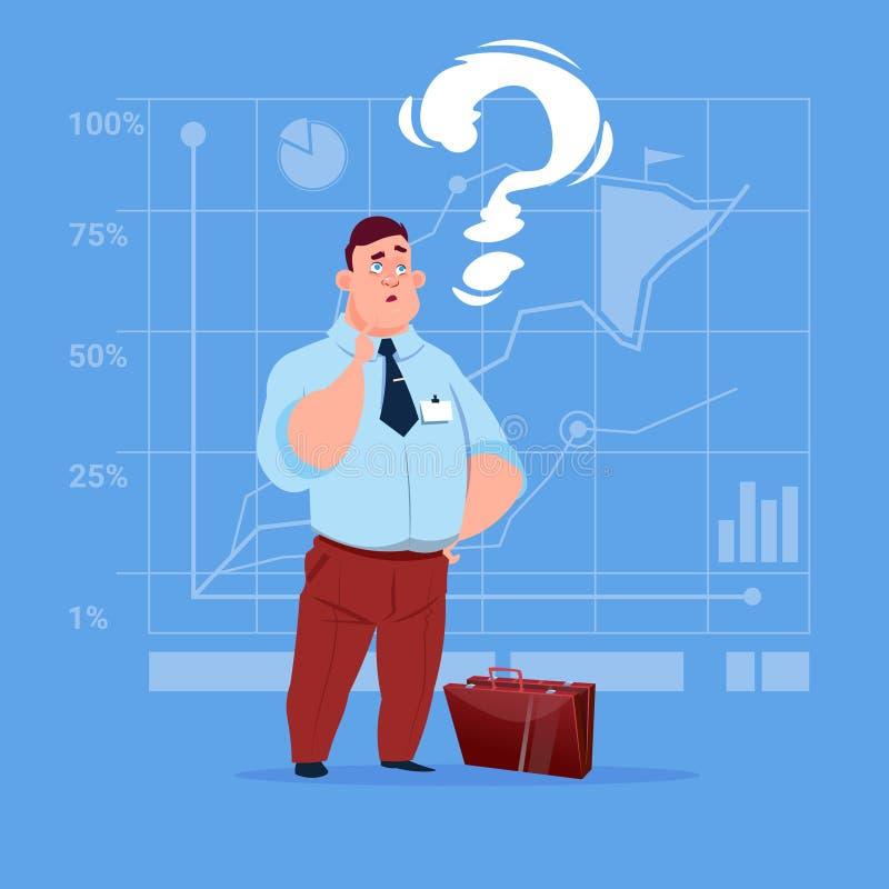 Biznesowy mężczyzna Rozpamiętywa Problemowego pojęcie Z znakiem zapytania ilustracji