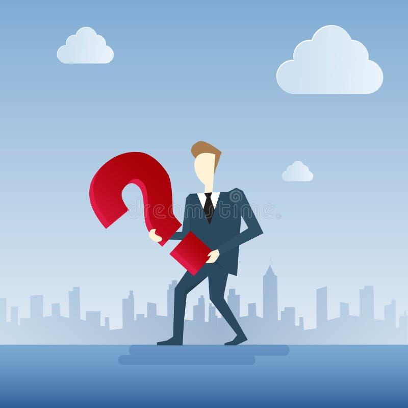 Biznesowy mężczyzna Rozpamiętywa Problemowego pojęcie Z znakiem zapytania ilustracja wektor