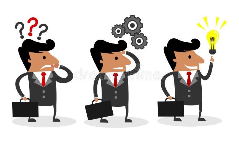 Biznesowy mężczyzna Rozwiązuje problem w Trzy fazach Myśleć - pomysł - pytanie - ilustracja wektor