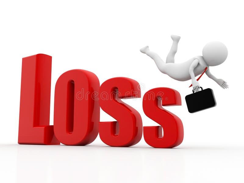 Biznesowy mężczyzna spada od straty, kryzysu finansowego pojęcie, kryzys gospodarczy Biznesowy spadek, 3d rendering royalty ilustracja