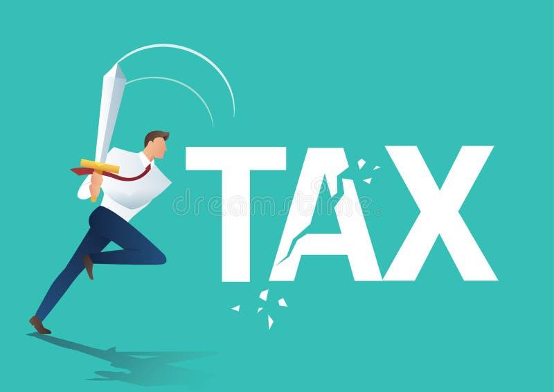 Biznesowy mężczyzna używa kordzika rżniętego podatek, biznesowego pojęcie, zmniejszać i obniżać opodatkowywa wektorową ilustrację ilustracji
