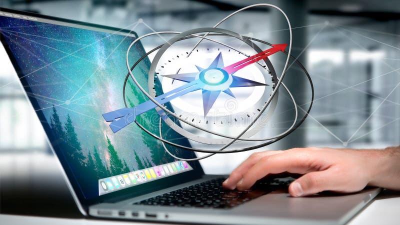 Biznesowy mężczyzna używa nawigacja kompas na laptopie - 3d rendere royalty ilustracja