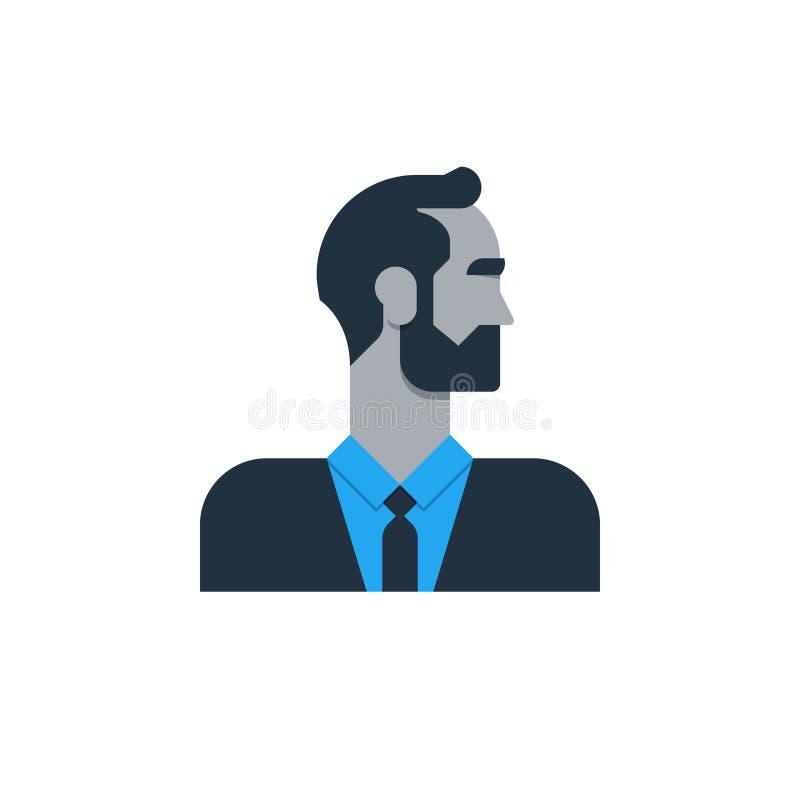 Biznesowy mężczyzna w kostiumu, boczny widok, tured głowa, urzędnik, kierownik royalty ilustracja