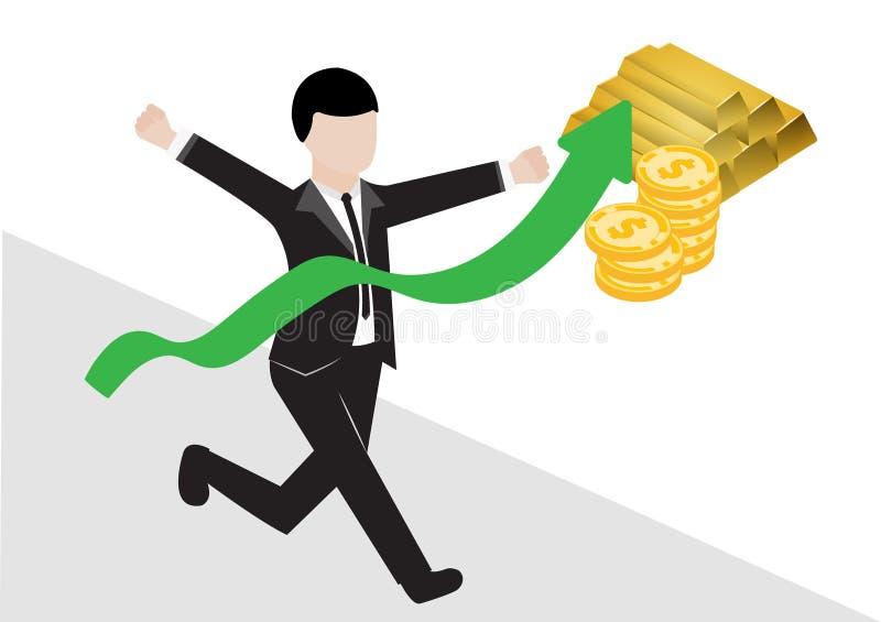 Biznesowy mężczyzna w kostiumu czarnych bieg w mety illustraton i wektor, zielony wykres wzrasta z symbolem złocisty bar ilustracja wektor