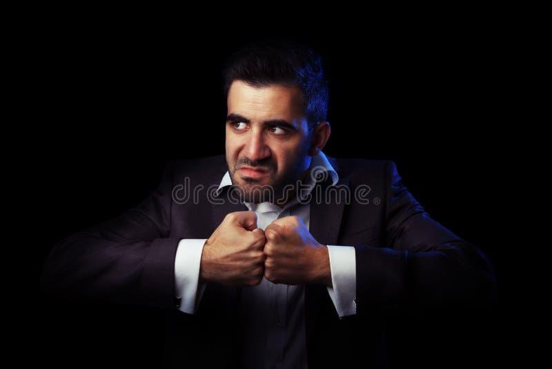 Biznesowy mężczyzna w kostiumu jest gniewny fotografia stock