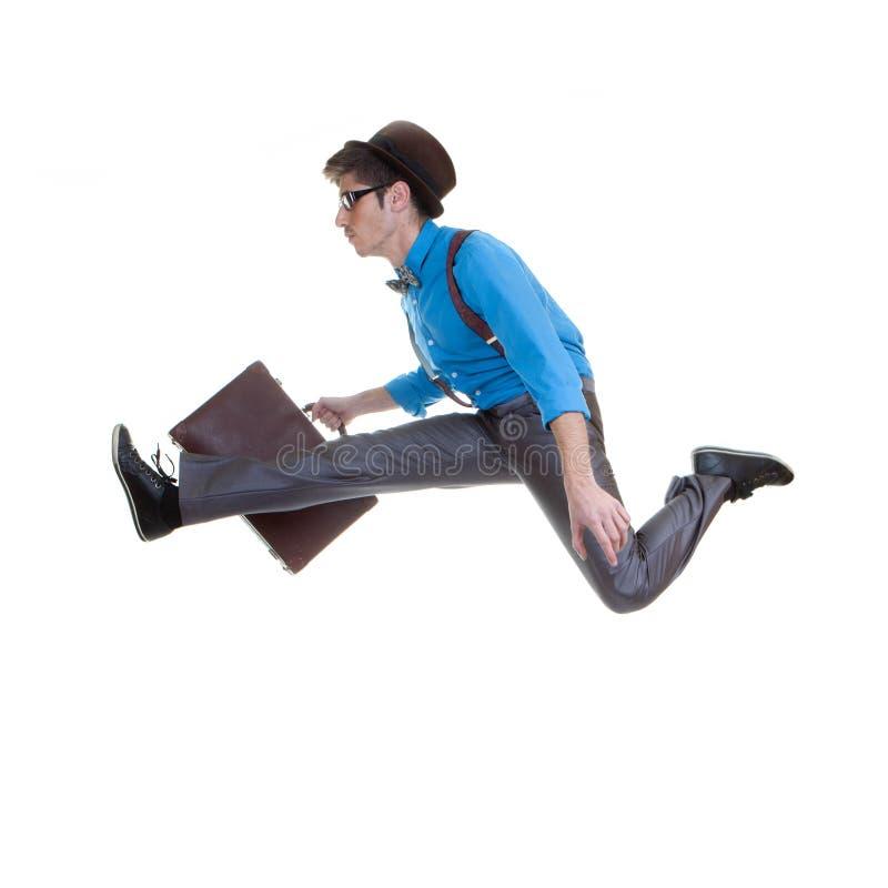 Biznesowy mężczyzna w pośpiechu, pośpiech prędkość obraz stock