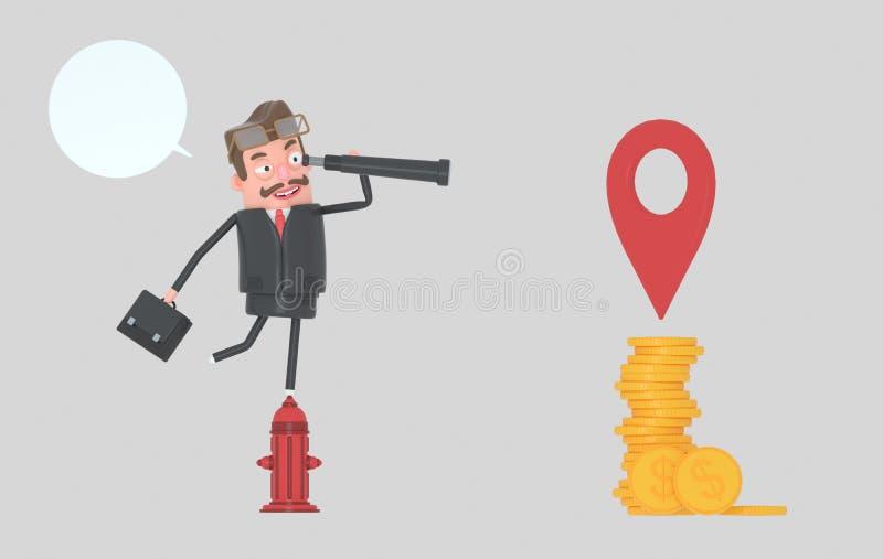Biznesowy mężczyzna w pożarniczego hydranta dopatrywania pieniądze w spyglass 3d illustrationBusiness kobieta w pożarniczego hydr royalty ilustracja