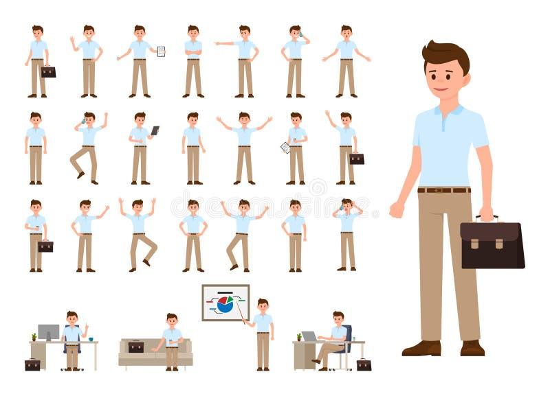 Biznesowy mężczyzna w przypadkowym biurowym spojrzenia postać z kreskówki - set Wektorowa ilustracja biurowa osoba w różnych poza ilustracji