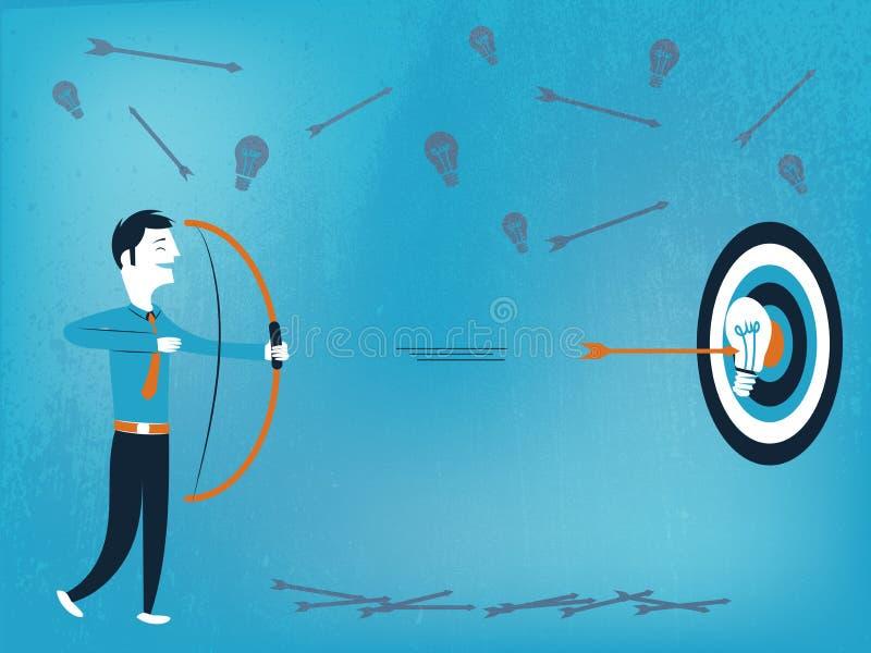 Biznesowy mężczyzna z łękiem i strzała która uderza cel z dobrym pomysłem ilustracja wektor