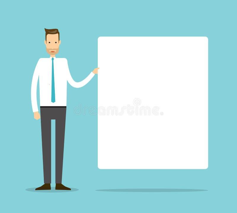 Biznesowy mężczyzna z deską dla prezentacja projekta pojęcia ilustracji